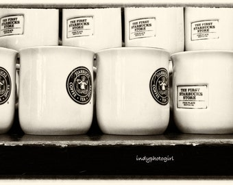 Pike Place Starbucks Shelf of Mugs Coffee First Vintage 5x7 Photograph