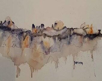 watercolor abstract mountain range