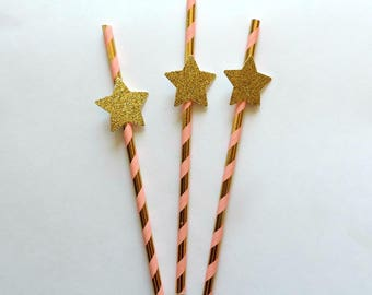 Gold and Pink Straws, Star Birthday Party Decorations, Pink and Gold Party Supplies, Twinkle Twinkle Little Star Birthday, Paper Straws