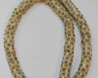 Beads Indonesian Bone Carved Rondelle Vintage Beads 10mm