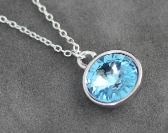 Aquamarine Birthstone Necklace, March Birthday Jewelry, Silver, Crystal Aquamarine Necklace