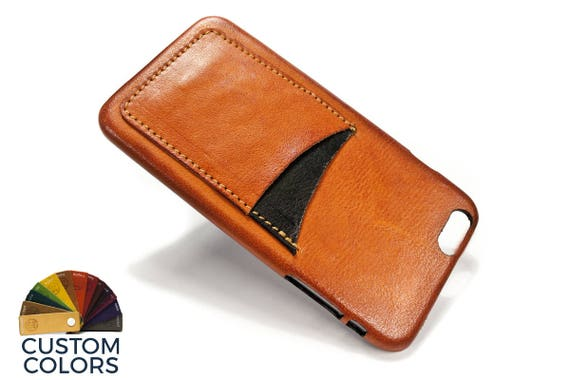 """NEW iPhone 8 or 7 or 6 PLUS 5.5"""" leather credit card case (choose color of Accent) col BRANDY"""