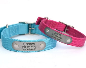 Two-Ply Nylon Dog Collar with Personalized Nameplate-23 Colors