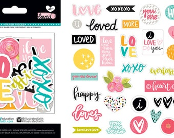 Illustrated Faith You Are Loved Paper Pieces Die Cuts for Bible Journaling