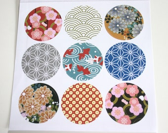 Circles from Japan - Japanese print Stickers (1 sheet = 9 stickers)