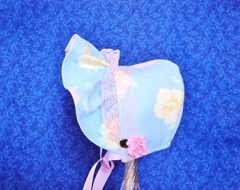Sweet Infant Baby Bonnet Light Blue and Pink Lace