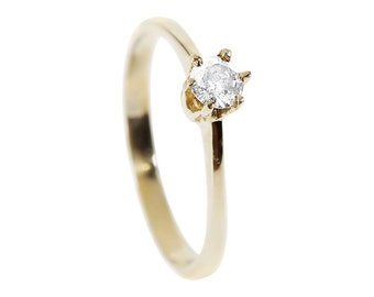 Solitaire ring-Diamond Engagement Ring-14K Yellow Gold Ring-Women Jewelry-Wedding ring- Promise ring-Solitaire diamond ring-Wedding band