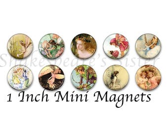 Fairy Magnets - Faierie - Refrigerator Magnets - 1 Inch Mini Magnets - Set of 10 - Kitchen Decor