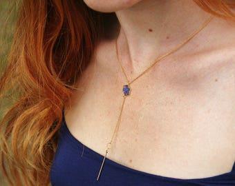 Myosotis Hexagone necklace Deep neckline Veritable Forget me nots Geometrical pendant Resin pendant Y necklace Bohème necklace Terrarium