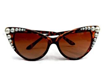 Embellished Cat Eye Sunglasses, Brown Leopard Print and pearls, Retro Sunglasses, 50s Sunglasses, Cateye Sunglasses