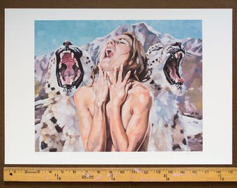 """Archival Print of Original Art, Giclee Print, Howling Nude Female and Snow Leopards, Climate Change Environmental Art - """"Mourning Song"""""""
