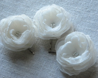 Ivory hair flower Ivory hair clip Ivory bridal accessory Wedding ivory hair flower 3 ivory hair flower Ivory hair piece 2.5 inch hair flower