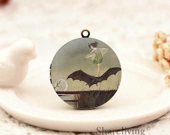 1pcs Vintage Fairy on Bat Locket Necklace , Antique Bronze Brass Fairy Charm Pendant 32mm 25mm 20mm Locket - HLK159Z