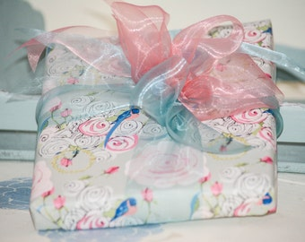 Gift Wrap 6 foot roll of Shabby Chic Bluebirds and Watercolor Roses on Gray paper