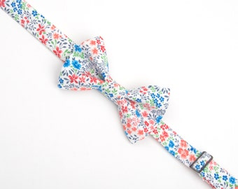Floral Bow tie, men's floral bow tie, kids floral bow tie, boys floral bow tie, toddler bow tie, adult bow tie, white floral bow tie, flower