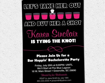 Bachelorette Party Invitation, Printable, Buy Her a Shot She's Tying the Knot, Pink and Black, DIY Digital File