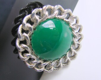 Vintage Green Lucite Silver Tone Rope Twist Brooch * Large Cabochon * Jewelry * Jewellery