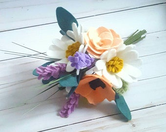 spring bouquet, spring flowers, felt wildflower bouquet, spring felt wedding bouquet, wedding bouquet, wildflower bouquet, modern boho