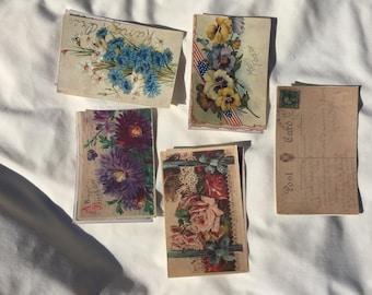 10 altered vintage postcards #4
