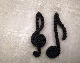 Music Note Earrings Black Crochet Tube Earrings Clef Eighth Earrings Music Party Jewelry Music Theme Earrings Artistic Jewelry Musician Gift