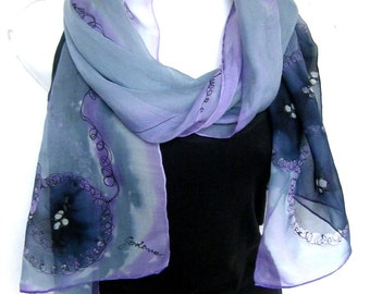 Silk Scarf, Hand Painted Silk Scarf, Gray Lavender Purple Black, Abstract, Silk Chiffon Scarf, Gift for Her