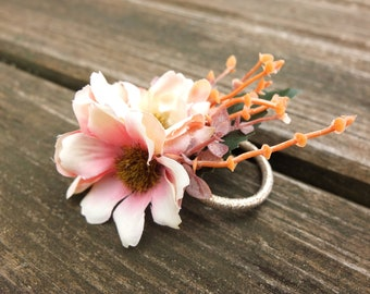 Hair tie with wild pink roses