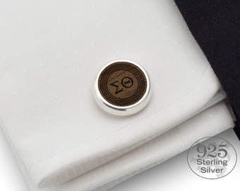 Greek gift Custom cufflinks,Monogram,Initials,Date,Meandre,Personalized cufflinks,Silver cufflinks,Engraved wood cufflinks,Greek wedding