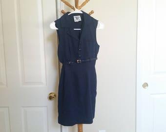 preppy navy blue fitted minidress vintage 1960s dress belt sleeveless minidress office mad men xs small