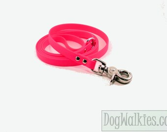 """Hot Neon Pink Small Dog Leash - 1/2"""" (12mm) Wide Biothane Dog Leash - Choice of: 4ft, 5ft or 6ft (1.2m, 1.5m or 1.8m) and Hardware Type"""