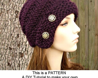 Instant Download Knitting Pattern - Knit Cloche Pattern - Knit Hat Pattern Hybrid Swirl Cloche Hat - Womens Hat Pattern Womens