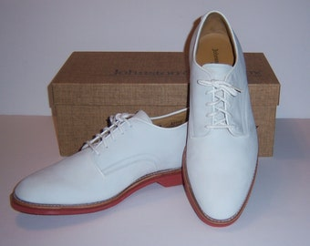 Vintage Johnston & Murphy Sloan Men's Classic White Suede Bucks Shoes 10.5 M Deadstock NOS Oxfords Brogues With Box