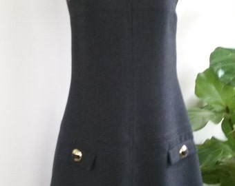 60s SUZY PERETTE--Wool Shift Dress with Gold Buckles--Mod--Mint--Size 8