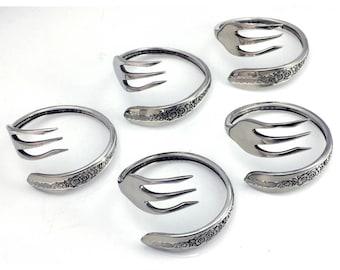 Repurposed Silverplate Fork Napkin Rings- Set of 5