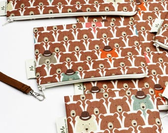 Spy Bear, Reusable Snack Bags, Zippered Pouch, Waterproof pouches, Pouch Set, Snack & Sandwich Bags, Gift, Back to school, Animal prints