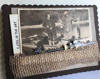 Catch of The Day~~~ Heirloom Lady Angler ~~~ Vintage Design Greeting