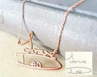 Custom Handwriting Necklace, Hand Writing Cutout, Petite, Christmas Gift, Signature Necklace, Signaturift, Gift For Her, Rose Gold Necklace