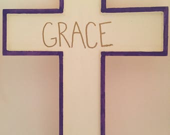 Grace Wooden Wall Cross