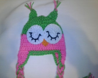 Crochet owl hat with tassels, toddler size, child size, teen size, adult size, owl hat, crochet owl hat, lime and hot pink owl hat, girls