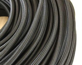 Black Vintage Style Round Textile Cable - Braided Electrical Cable FLAT RATE SHIPPING