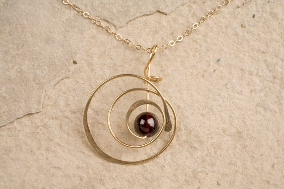 SPIRAL OF LIFE, gold filled pendant, sterling silver, niobium, lapis lazuli, tiger's eye