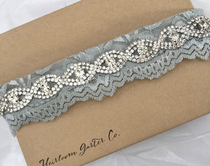 Gray Bridal Garter, Gray and Rhinestone Wedding Garter, gray toss garter, NO SLIP grip vintage rhinestones A*B19S