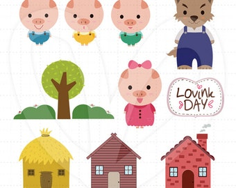 Three Little Pigs Clip Art Set D13014