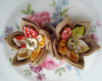 Linen Flower Hair Clip, Linen mix hair clip, flower girl hair accessory, kids hair accessory, handmade hair clips, hair bobbins
