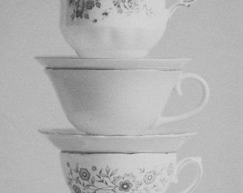 Fine Art Print, Floral Teacups, Saucers, Teacup Photo, Whimsical Art, Still Life Print, Cafe Art, Tea, Kitchen Art, Black and White Photo