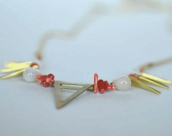 Beaded Necklace, Gold Brass, Gemstone Beads, Botswana agate, Carnelian agate, Chalcedony, Coral, Glass Beads, Women Jewelry, Handmade