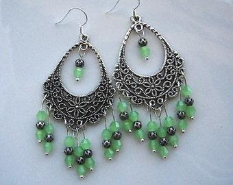 Green Chandelier Earrings Green Filigree Earrings Green Earrings