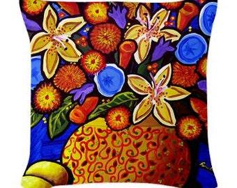 Colorful Fall Bouquet Floral Folk Art Pillow - Woven Throw Pillow Whimsical Art by Renie Britenbucher