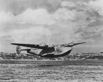 Boeing 314 China Clipper Over Water Airplane - Vintage Photograph (Art Print - Multiple Sizes Available)