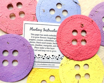 16 BIG Seed Paper Buttons Baby Shower Favors - Plantable Paper - Cute As A Button Baby Shower