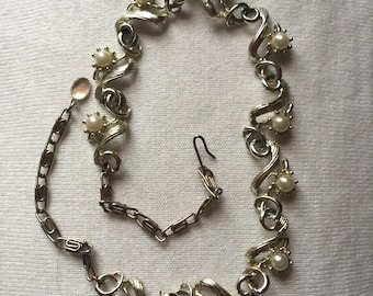 Vintage silver and pearl choker/necklace